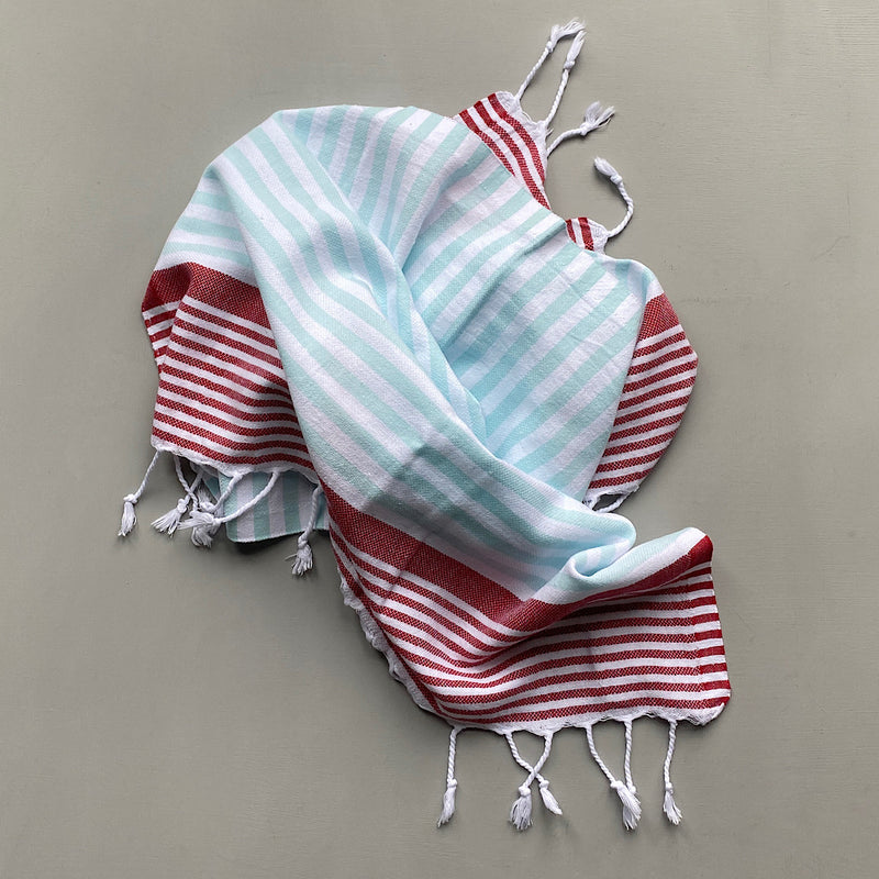 sophia red and aqua striped turkish cotton hand towel