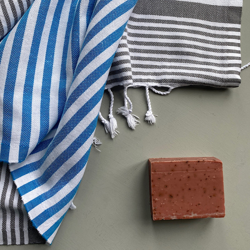 jim and jane blue and grey stripe cotton turkish hand towel