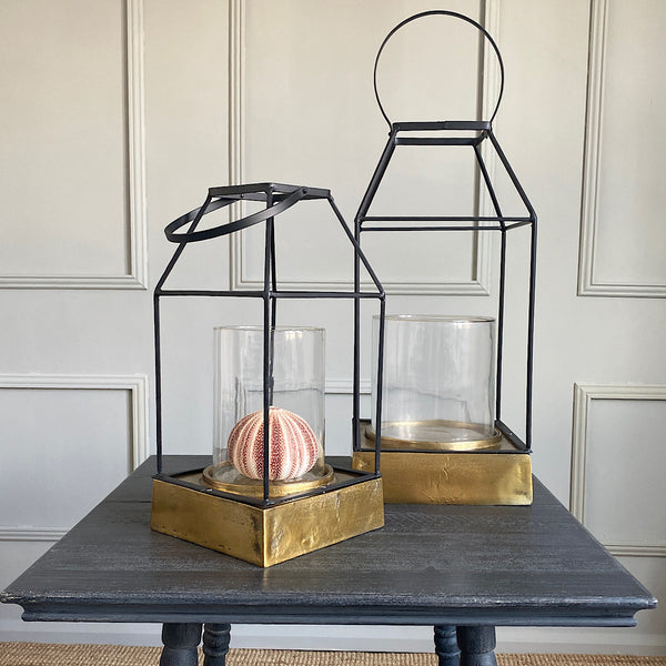 benson iron, glass and gold base lantern hurricane lamp french country collections