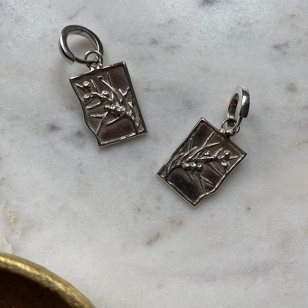 Jumping Jack Wattle Silver Huggie Earrings