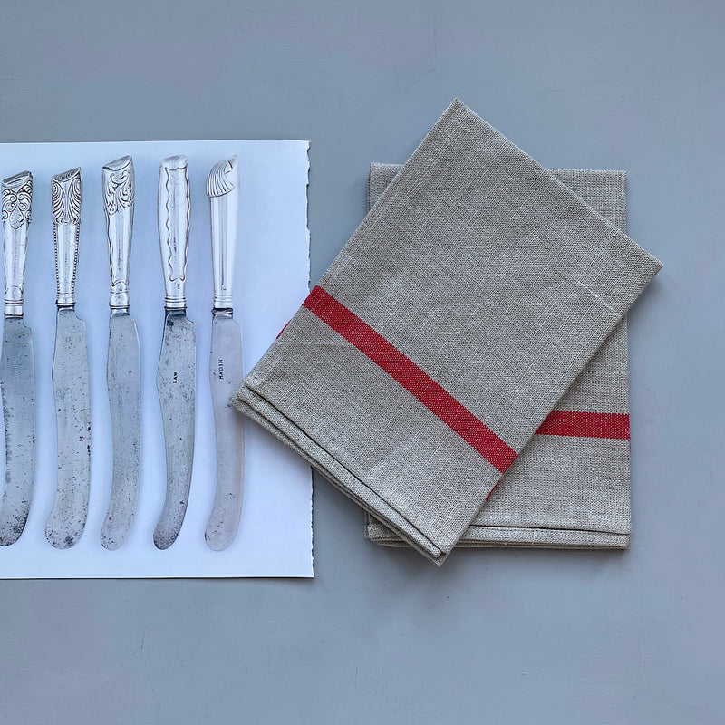 fog linen work japan linen kitchen work tea towel in natural and red