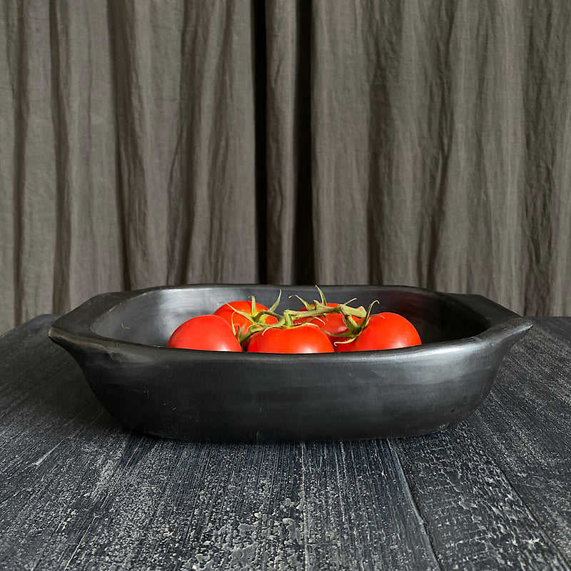 la chamba black clay terracotta glazed lasagne dish baking tray