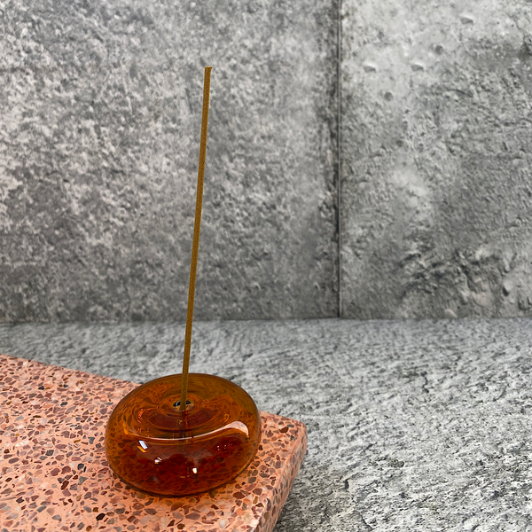 maison balzac pebble glass incense holder amber