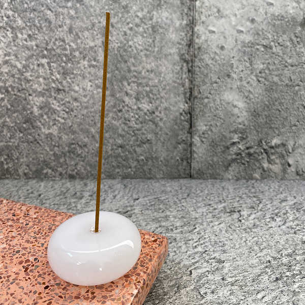 maison balzac white glass pebble incense holder