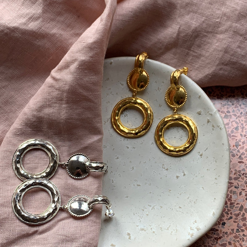 leonie 80s style sterling silver gold plated earrings