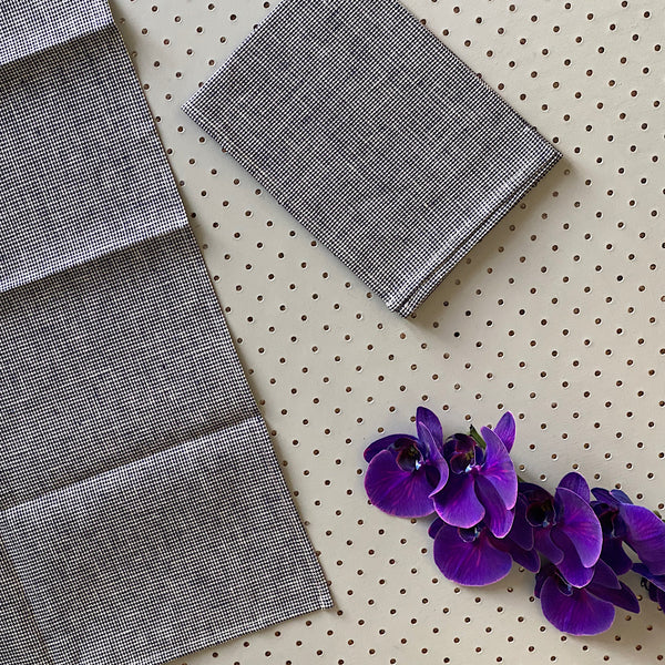 fog linen work japan linen kitchen cloth tea towel in mia black and white check gingham