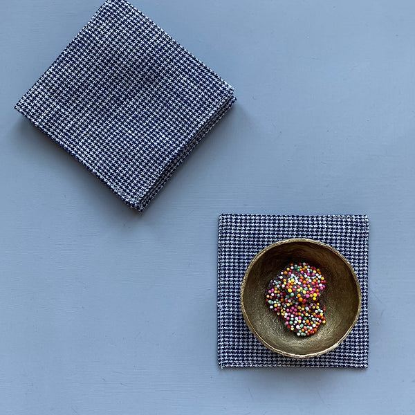 fog linen works japan pure linen coaster in mia black and white houndstooth