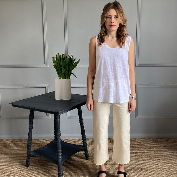 model wears the lolosister linen tank top in white by american vintage