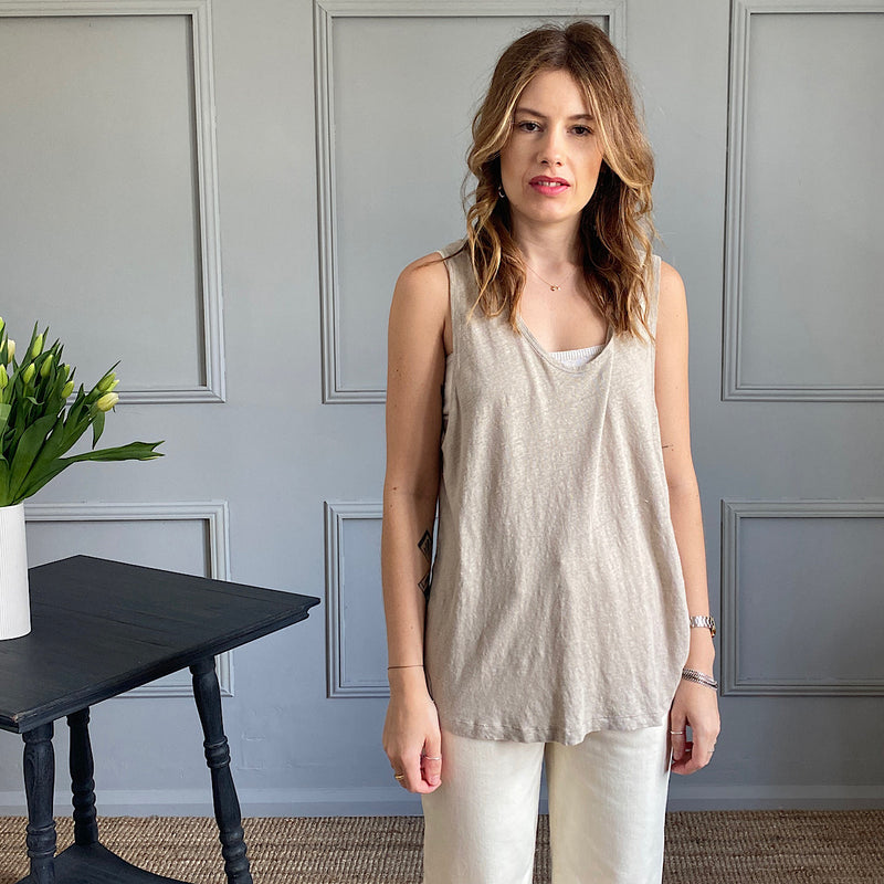 model wears the lolosister linen tank top in cement beige by american vintage