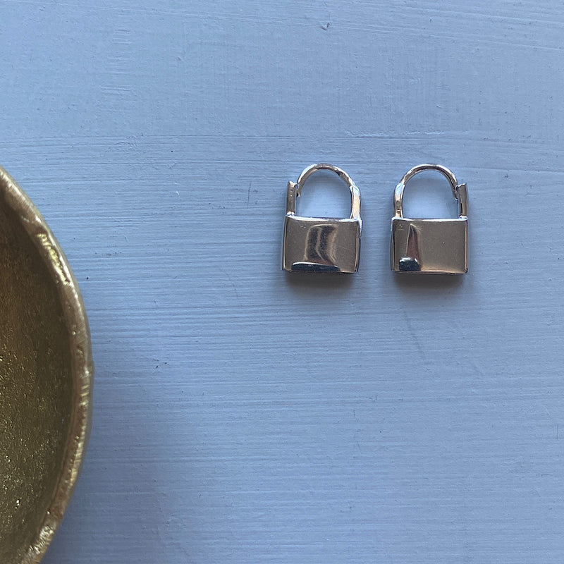 lock and love sterling silver padlock earrings