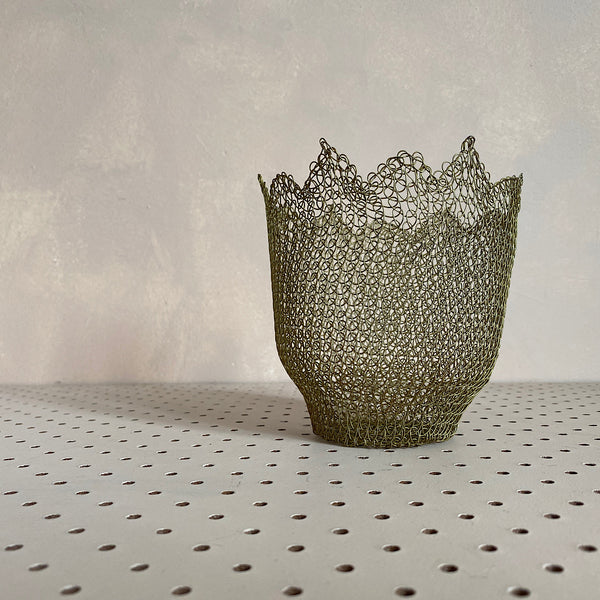 hand crocheted mesh candy bowl