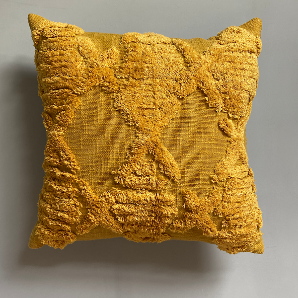 mustard dreams tufted yellow cotton cushion cover
