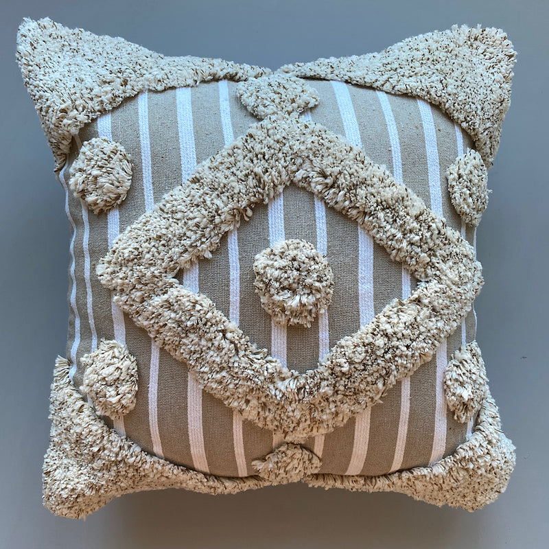 striped tufted wooly cotton cushion cover pillowcase