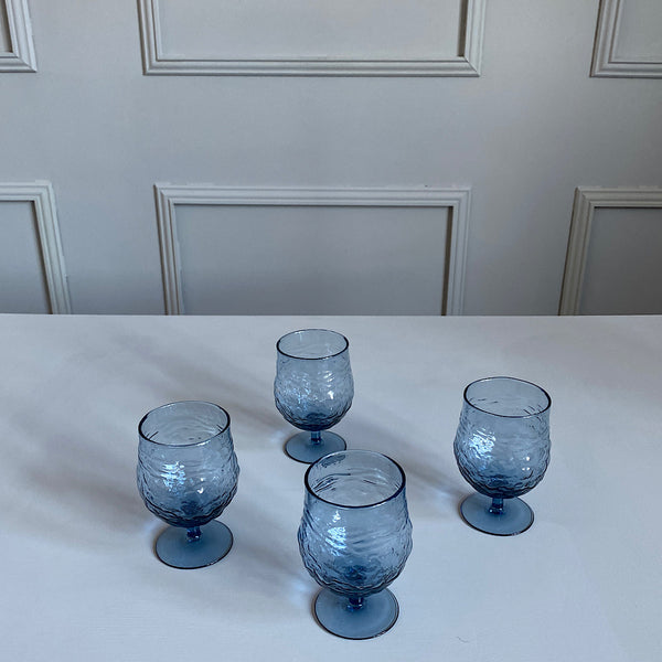 textured blue glass wine goblets drinking glasses french country collections