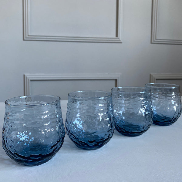 textured blue glass drinking glasses tumblers french country collections