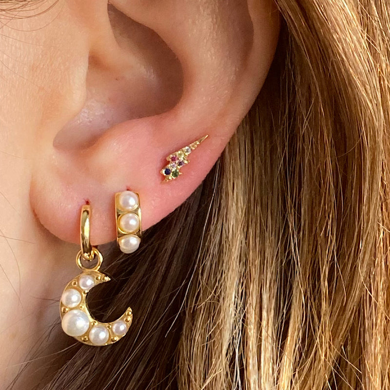 pearly moon crescent huggie charm earrings
