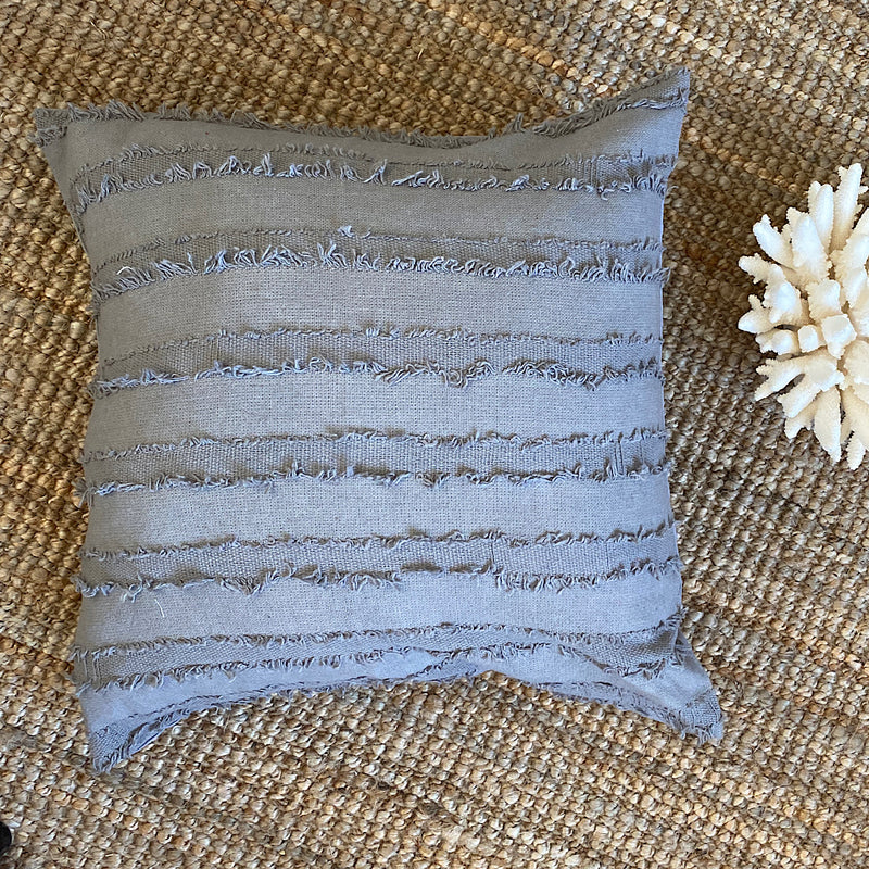 pewter grey textured stripe handmade cotton cushion cover