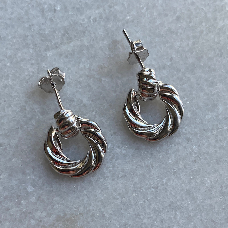 twisted rope vintage hoop earrings sterling silver