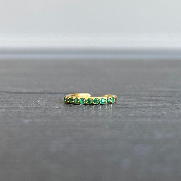 green cz crystal gold ear cuff