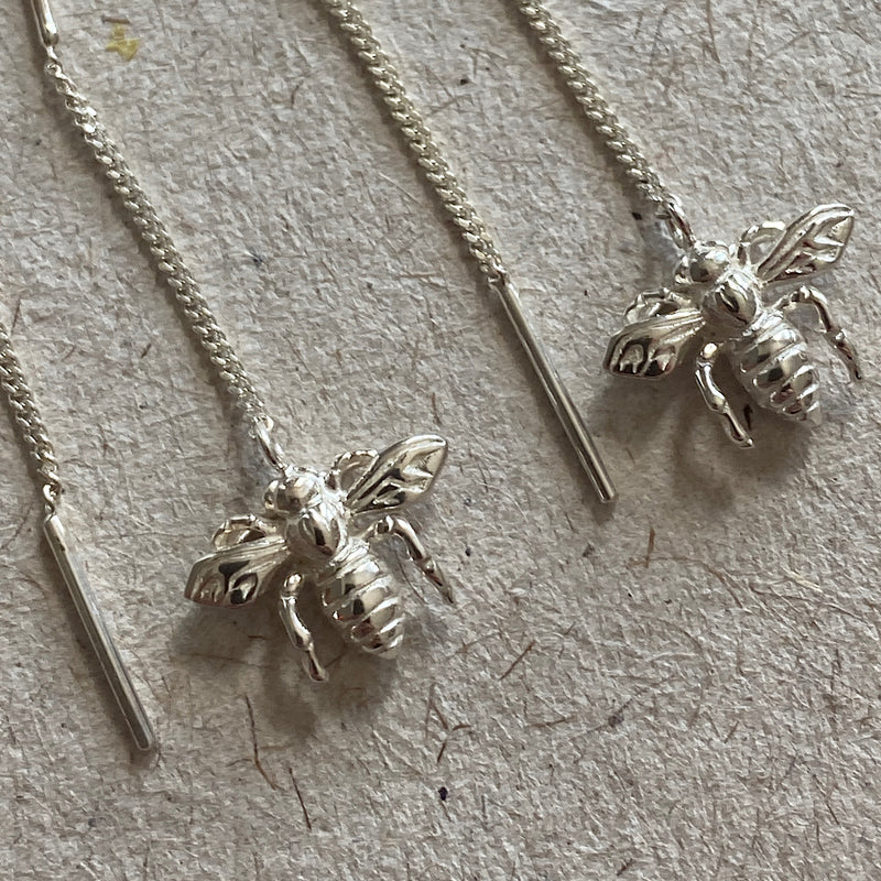 ligurian bee charm sterling silver threader earrings