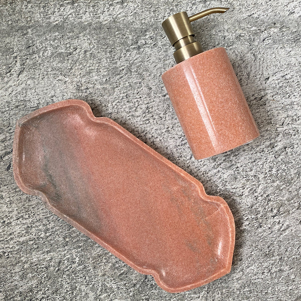 pink marble soap dispenser with gold brass