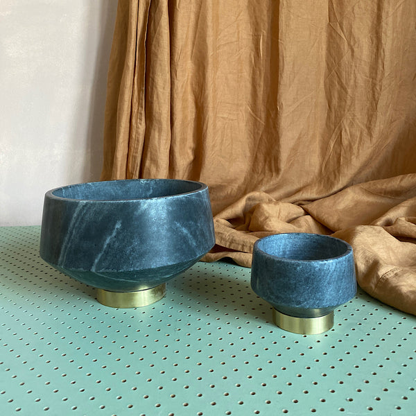 grey dark marble and gold brass bowl handmade india