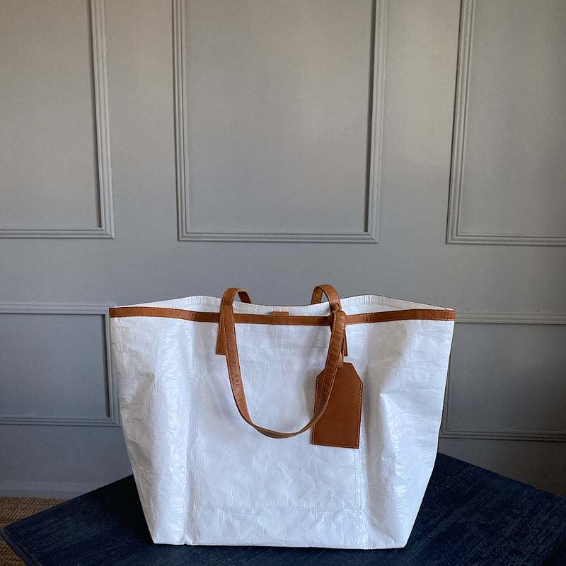 johnny ramli gomez plastic shopper tote bag with brown tan leather trim
