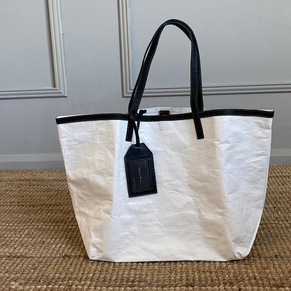 johnny ramli gomez plastic shopper tote bag with black leather trim