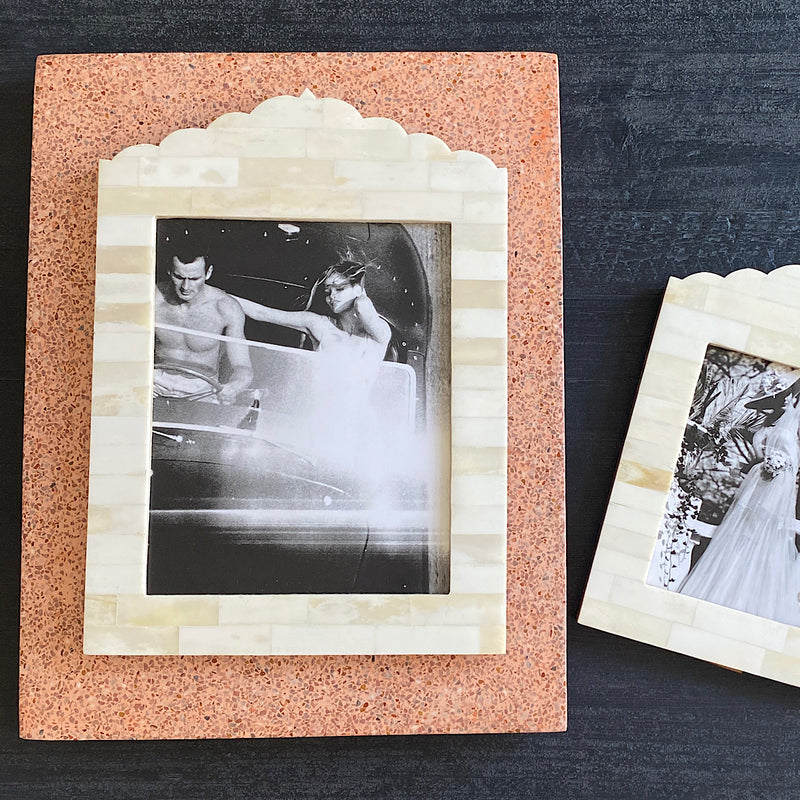 handmade in india white bone photo frame