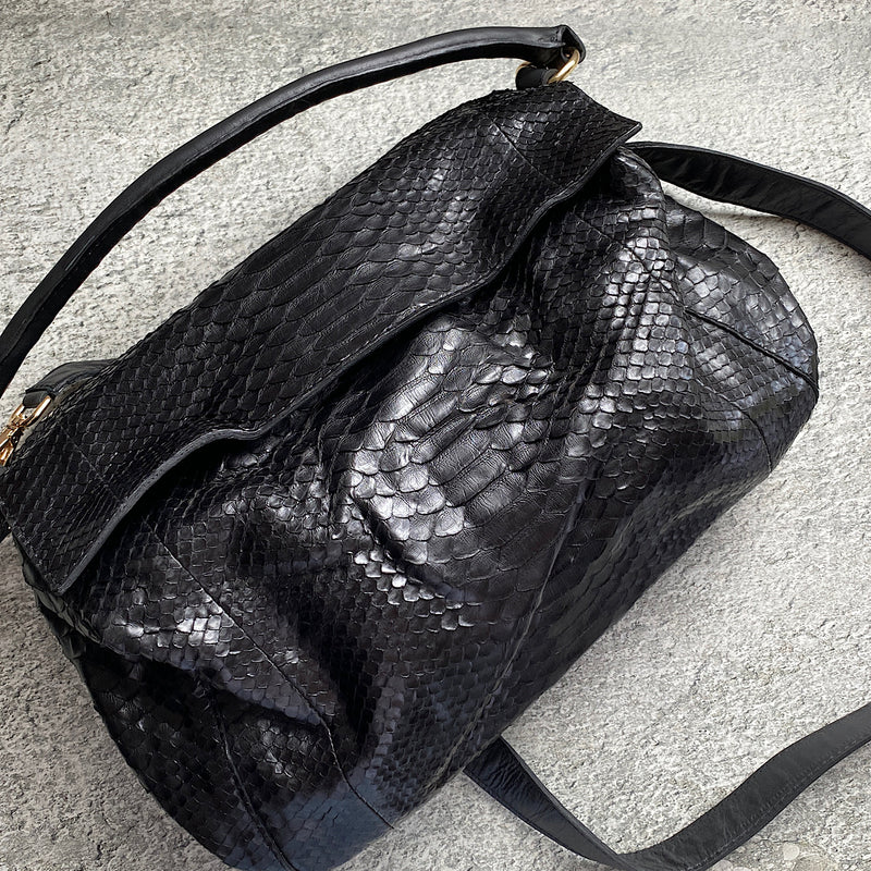 black snakeskin crocodile look pirelli leather satchel handbag by johnny ramli