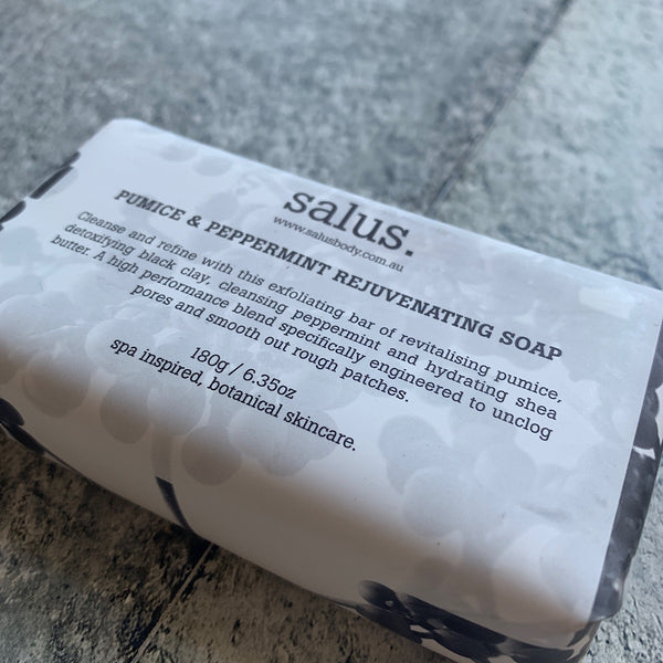 pumice and peppermint rejuvenating bar soap by salus body