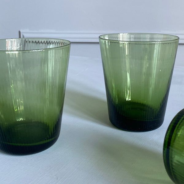 ribbed interior green glass tumblers coloured glassware