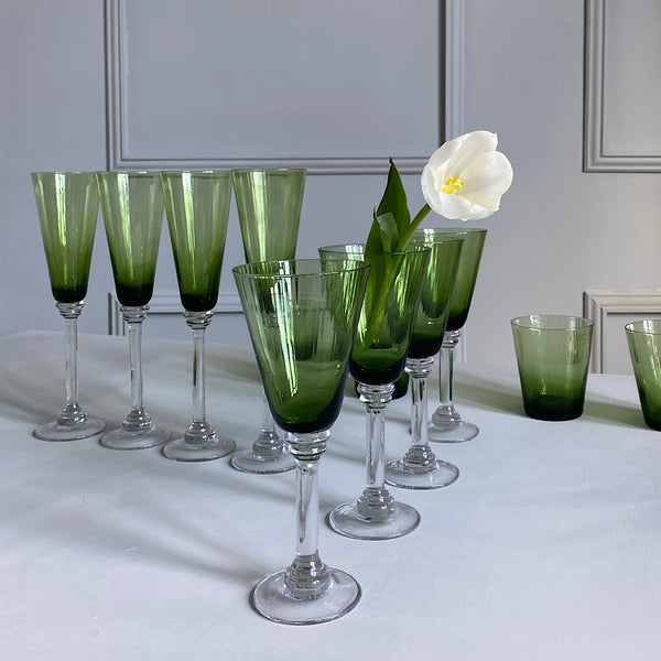 set of four ripple ribbed green wine glasses coloured glassware