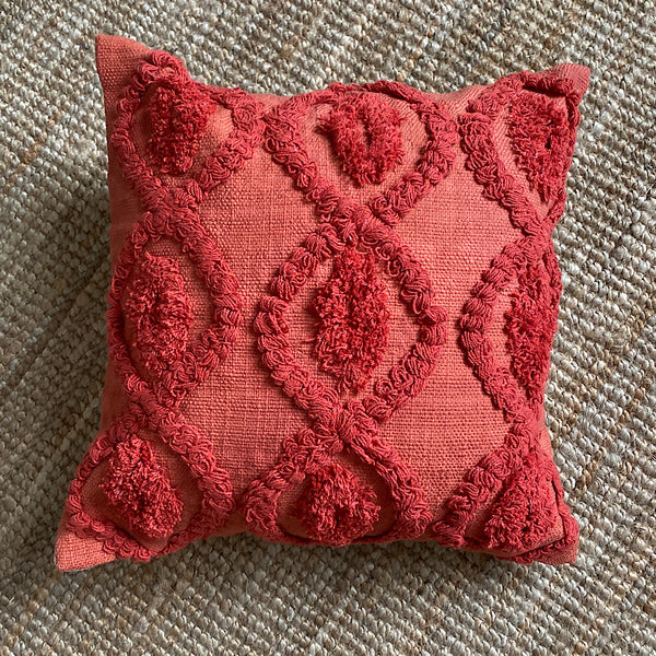 ruby dream red cotton tufted embroidered cushion cover