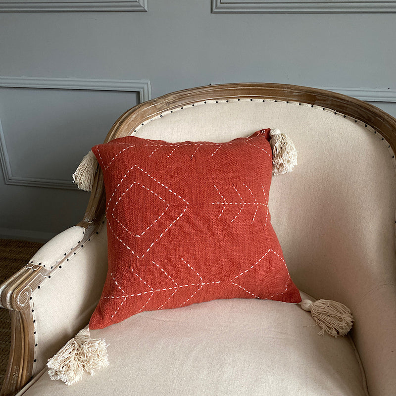 rusted lines ochre red embroidered cotton cushion cover