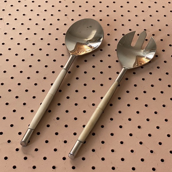 bone inlaid handle salad servers made in india