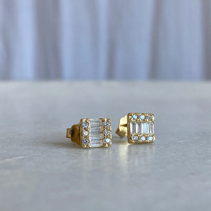 sterling silver gold plate stud earrings with baguette cut clear crystals