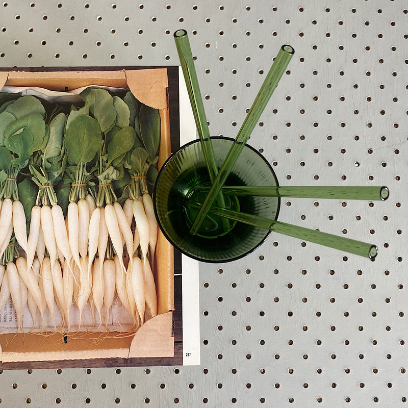 eco friendly sustainable glass straws in mint green