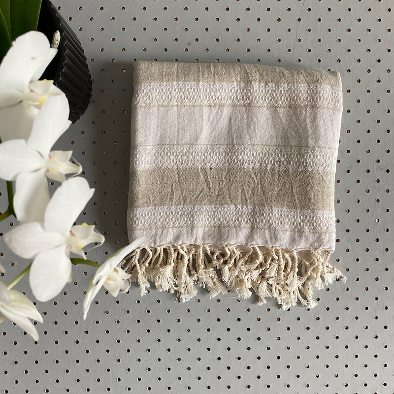 bisley cotton turkish towel natural linen and beige stripe with fringe