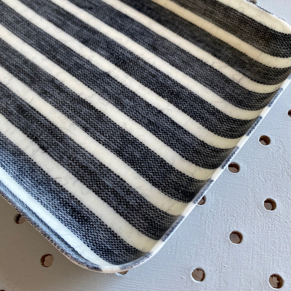 fog linen works japan coated linen serving tray in jack black and white stripe