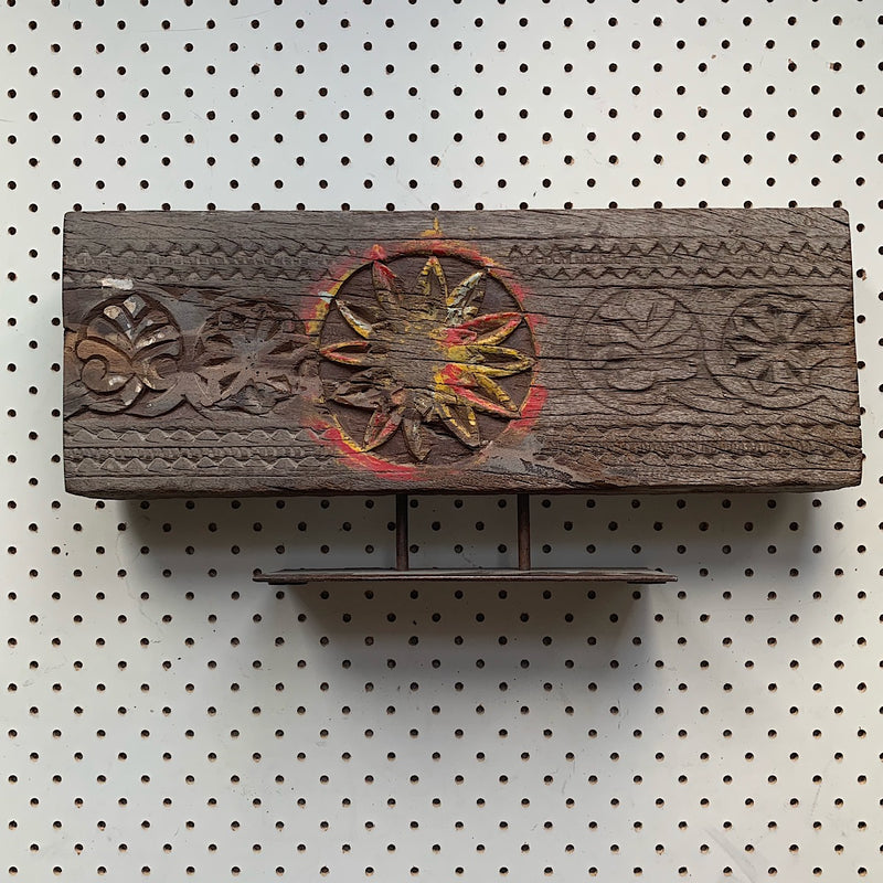image of a vintage Indian repurposed hand carved wooden bracket on stand