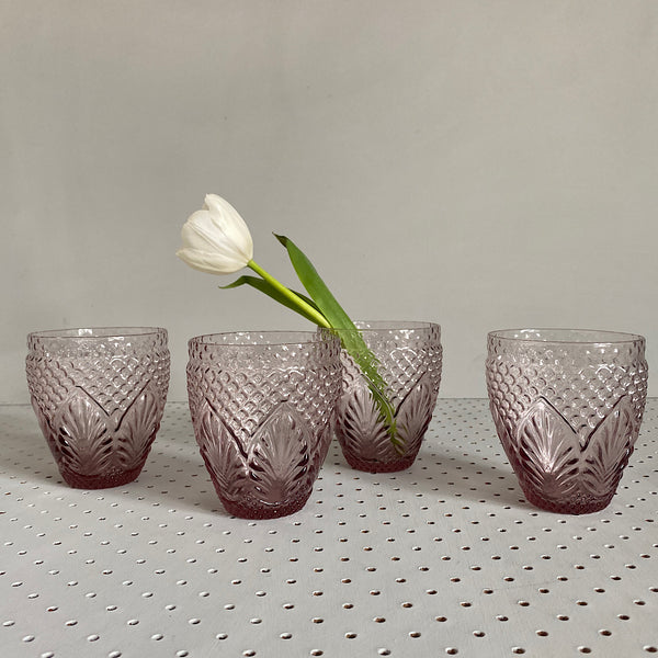 set of four pink coloured embossed vintage style drinking glasses tumblers