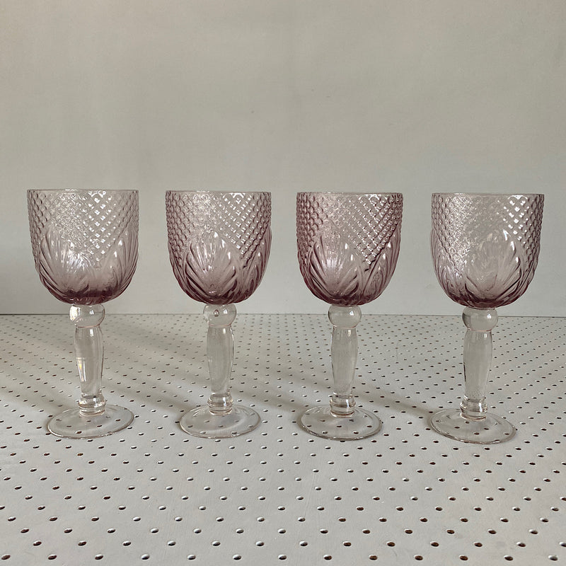 set of four vintage style embossed goblets wine glass in pale pink coloured glassware