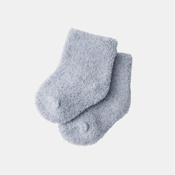 fog linen work organic cotton pile baby socks in blue