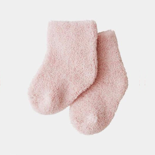 fog linen work organic cotton pile baby socks in pink