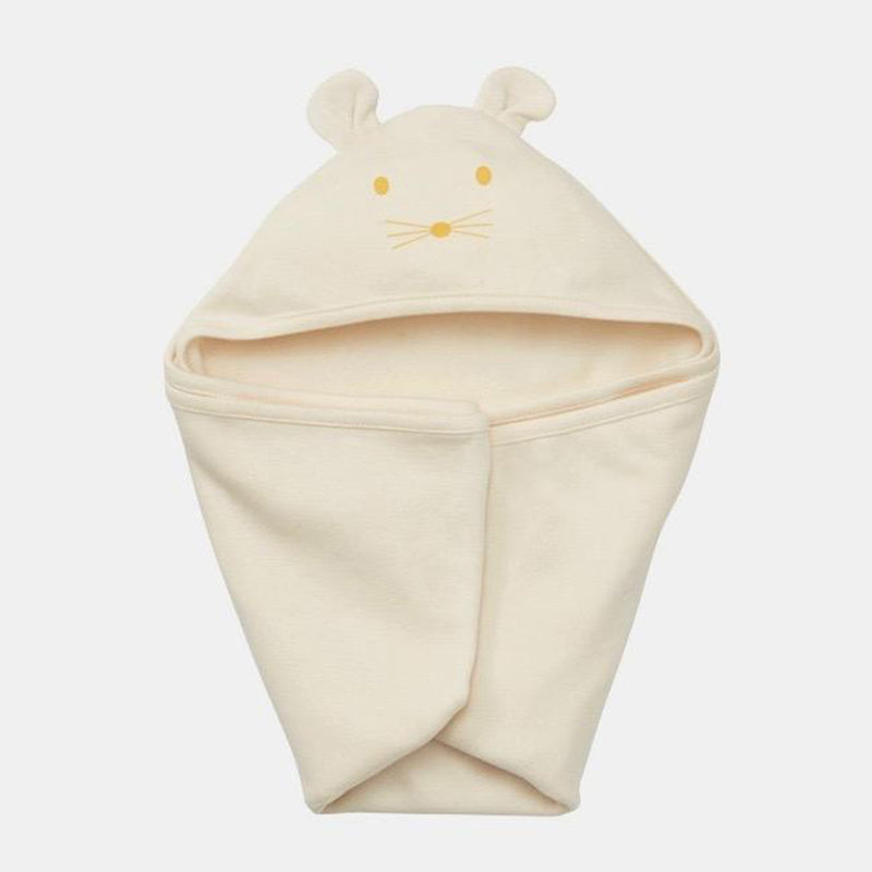 fog linen work baby swaddle with eared hood