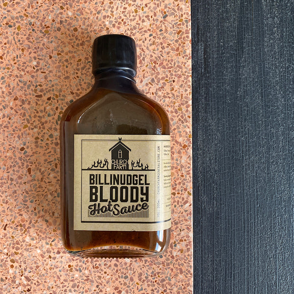bilinudgel bloody hot sauce chilli sauce by church farm general store