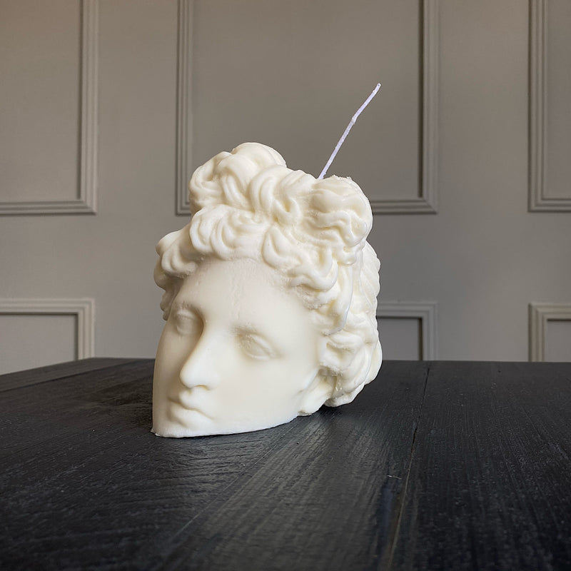 handpoured greek sculpture soy wax candle apollo sculpture  candle by the busted gentleman