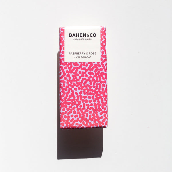 raspberry and rose dark chocolate bar by bahen and co