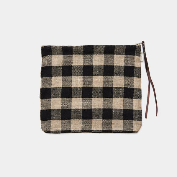 fog linen canna pouch black and natural check